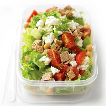 mediterranean salad in plastic container