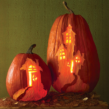 Haunted House Carved Pumpkins