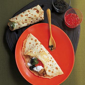 Potato and Caviar Crepes