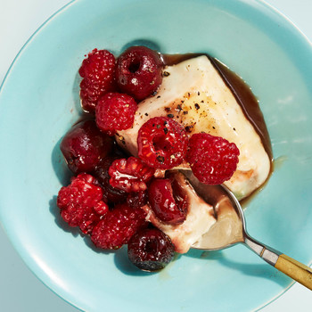 tofu panna with roasted cherries