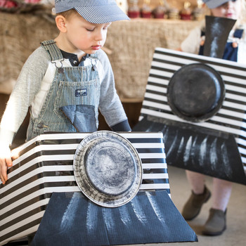 rustic train birthday party cardboard train wearable