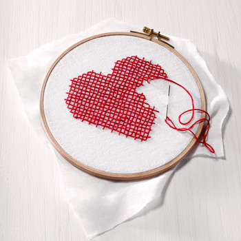 heart design being stitched