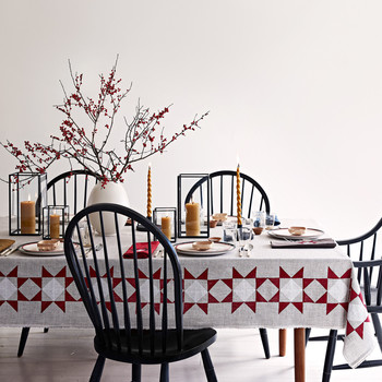 amish star tablecloth on table