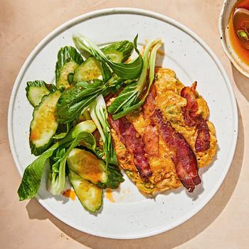 Bacon-Kimchi Pancakes on white plate