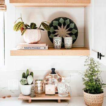 wooden shelves in california home kitchen