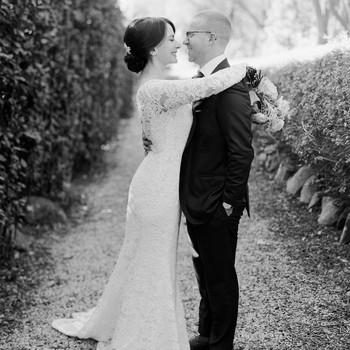 bride and groom portrait on gravel path