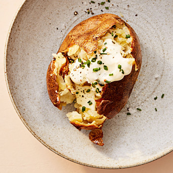 classic baked potato on plate