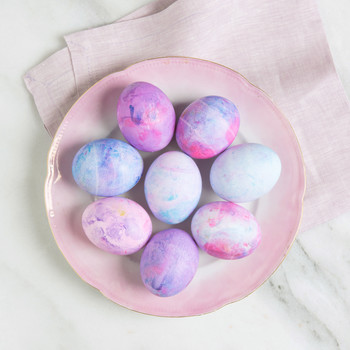 dyed easter eggs shaving cream purples