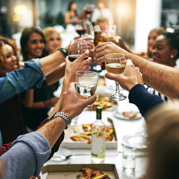 guests toasting at a dinner party