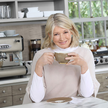 Martha Stewart Headshot, Drinking Coffee