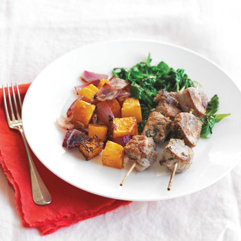Pork Kebabs With Roasted Squash And Sauteed Greens