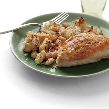 Roast Chicken with Cauliflower and White Beans