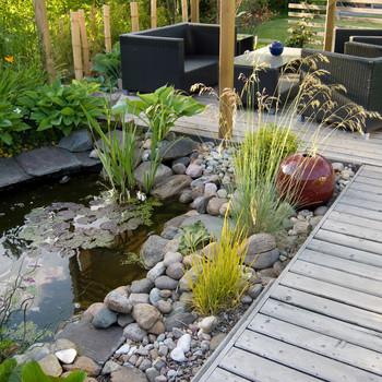 small pond backyard patio area
