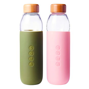 green and pink soma water bottles