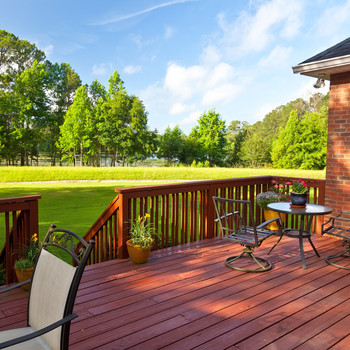 outdoor stained wooden deck
