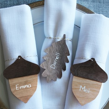 wood veneer Thanksgiving place cards