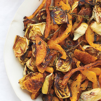 Roasted Artichoke Hearts and Squash with Thyme