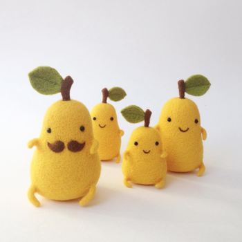 needle-felted pear figures
