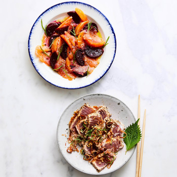 arctic char and sesame tuna on plates