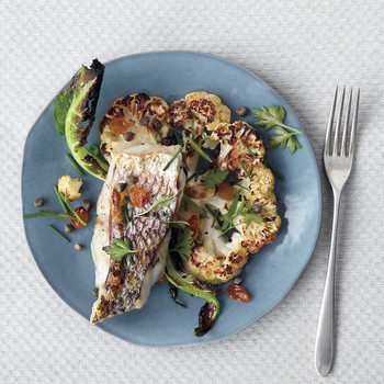 Broiled Striped Bass with Cauliflower and Capers