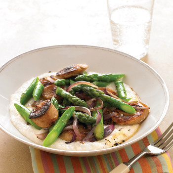Chicken-Sausage and Asparagus Saute over Cheese Grits