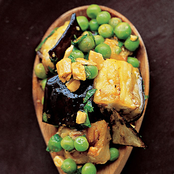 Curried Eggplant Salad with Peas and Cashews