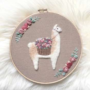 Embroidered Llama by Becky Tilson