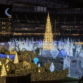 Christmas lights maze in baseball stadium