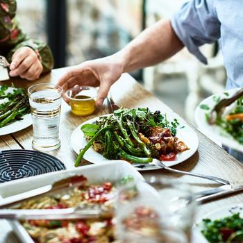 Guests enjoying dinner together