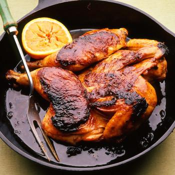 Asian-Style Orange Chicken Roasted Under a Brick