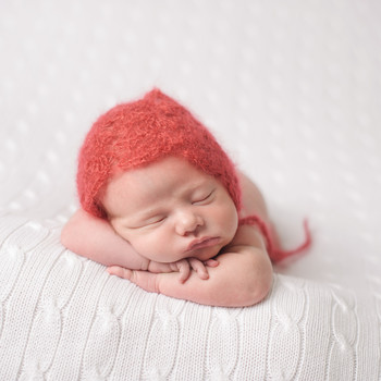 "baby's mohair knit red hat for ""Little Hats, Big Hearts"""