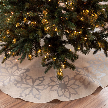 snowflake tree skirt with string lights