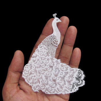 Parth Kothekar papercut peacock art