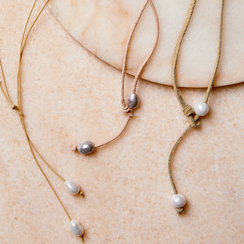 pearl lariat sliding knot necklaces