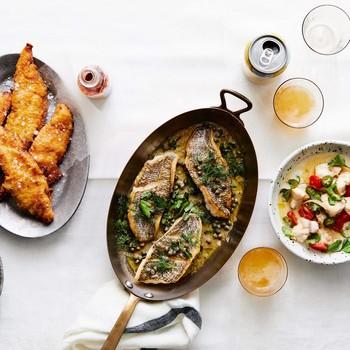 fried catfish black sea bass monkfish soup