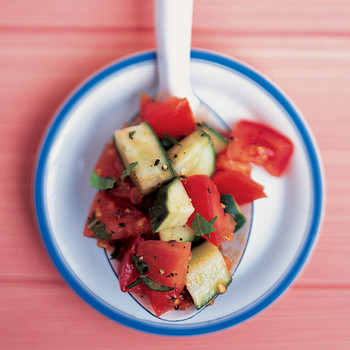 Tomato-Cucumber Salad with Basil Dressing