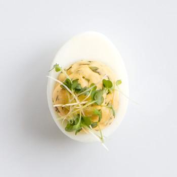 Watercress-Horseradish Deviled Eggs