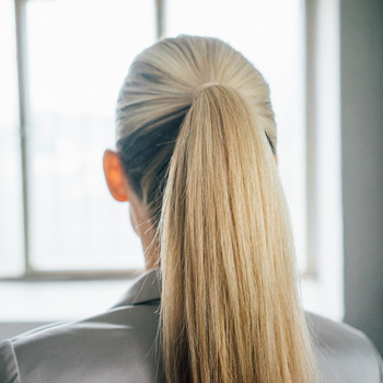 woman with blond ponytail