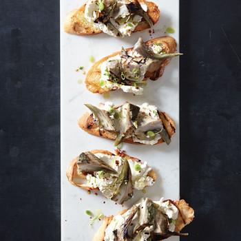Grilled Artichoke, Green Garlic, and Goat Cheese Bruschetta