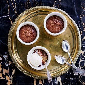 date malva pudding cakes on tray
