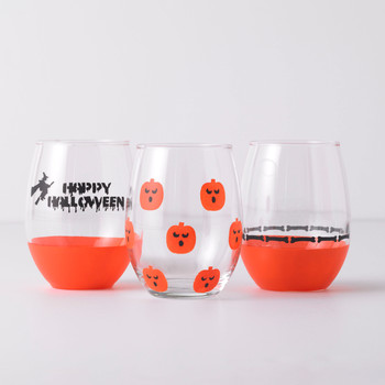 halloween stenciled wine glasses
