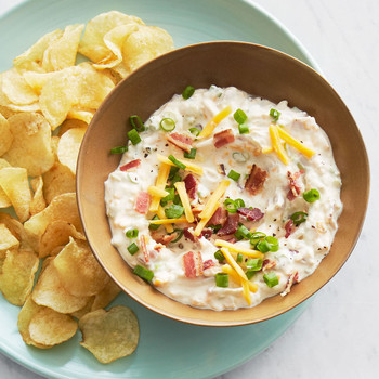 game day appetizer loaded potato dip with chips