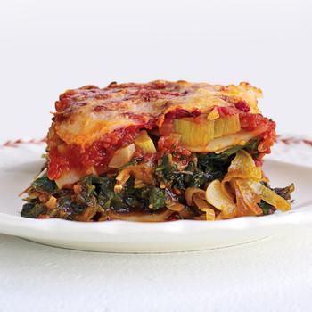 Light Spinach and Leek Lasagna