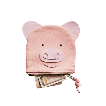 pink leather piggy bank with money