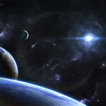 orbital view of planets moons in outer space