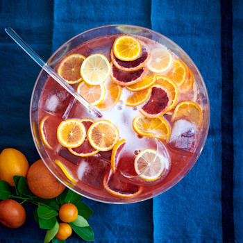 sparkling campari punch with oranges