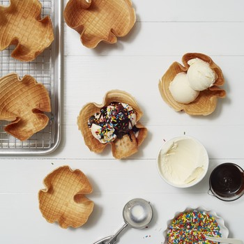 waffle cone bowls ice cream sundaes sprinkles chocolate