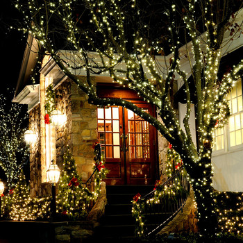 outdoor Christmas lights around entryway