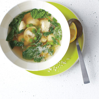 Tortellini Soup with Peas and Spinach