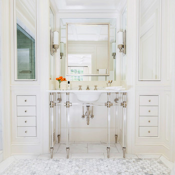 vanity trend white console in light bathroom